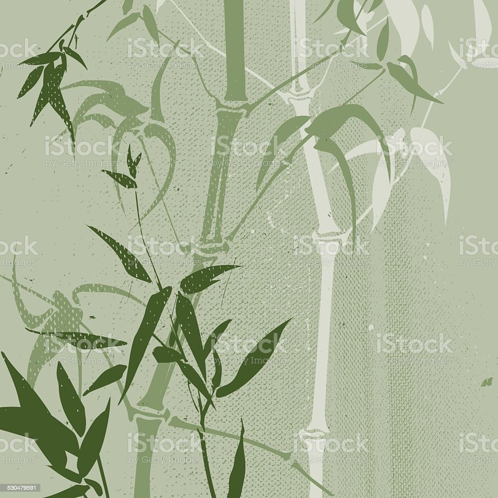 Chinese bamboo grove (Grunge style) vector art illustration