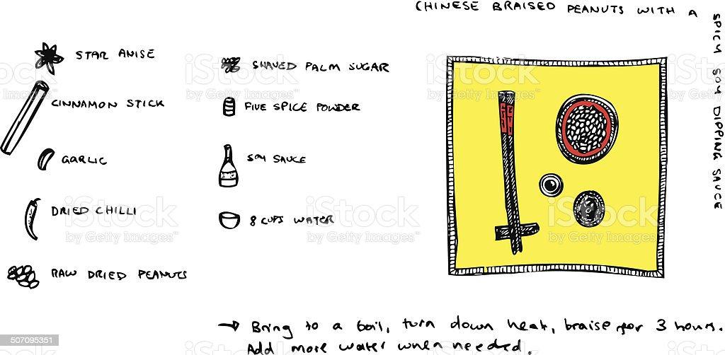 Chinese Braised Peanuts Recipe Illustration vector art illustration