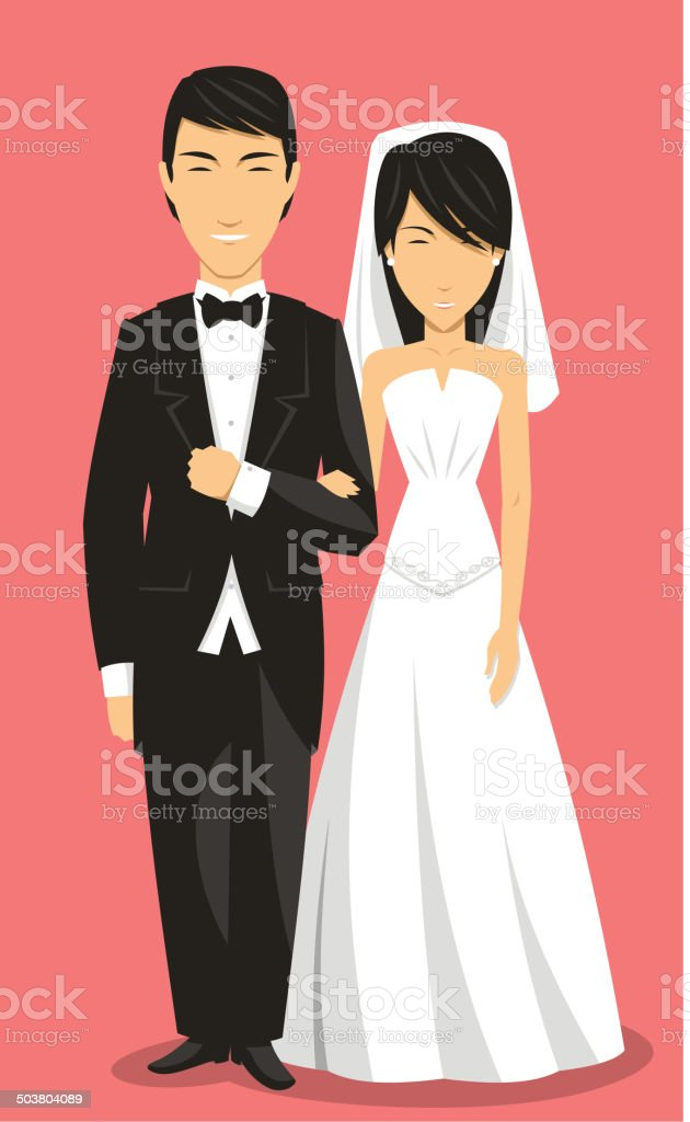 Chinese Bride and Groom Wedding Clothing royalty-free stock vector art