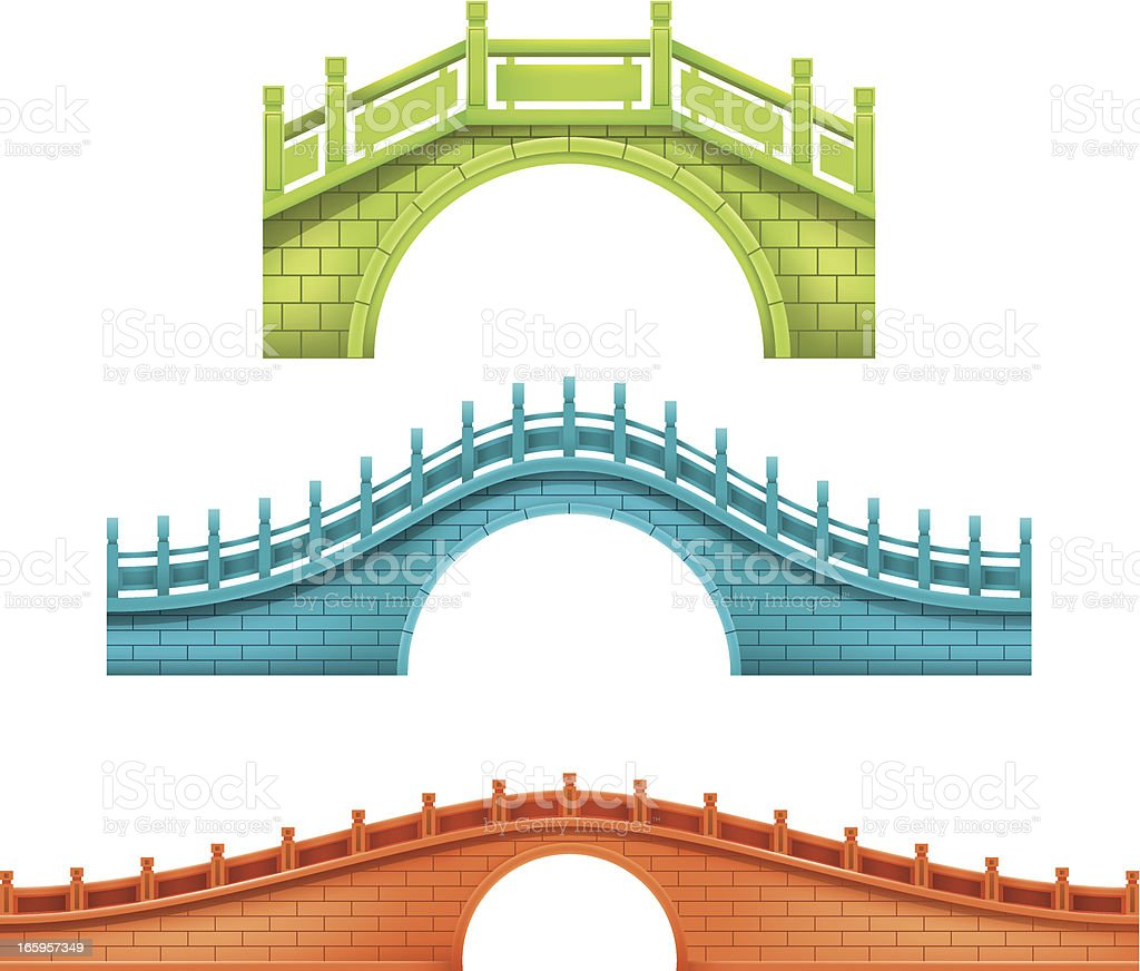 chinese bridge vector art illustration