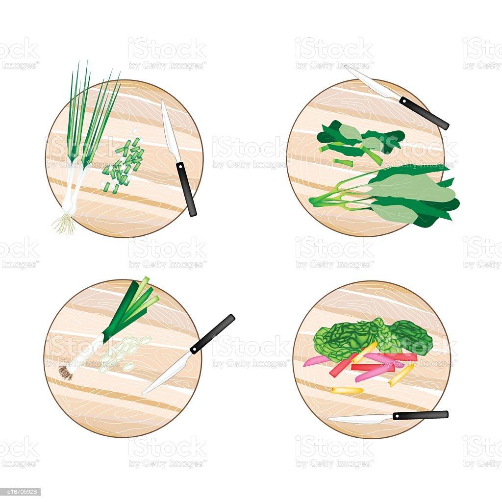 Chinese Broccoli, Rainbow Swiss Chards, Leek and Scallion vector art illustration