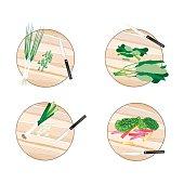 Chinese Broccoli, Rainbow Swiss Chards, Leek and Scallion