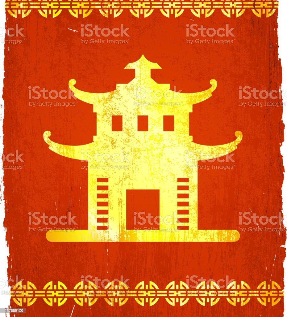 Chinese building on grunge background vector art illustration