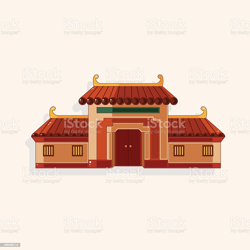 Chinese building theme elements vector art illustration