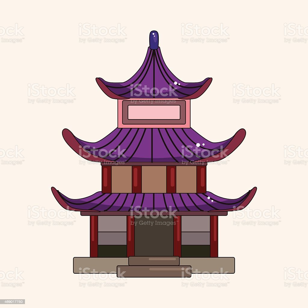 Chinese building theme elements vector,eps vector art illustration