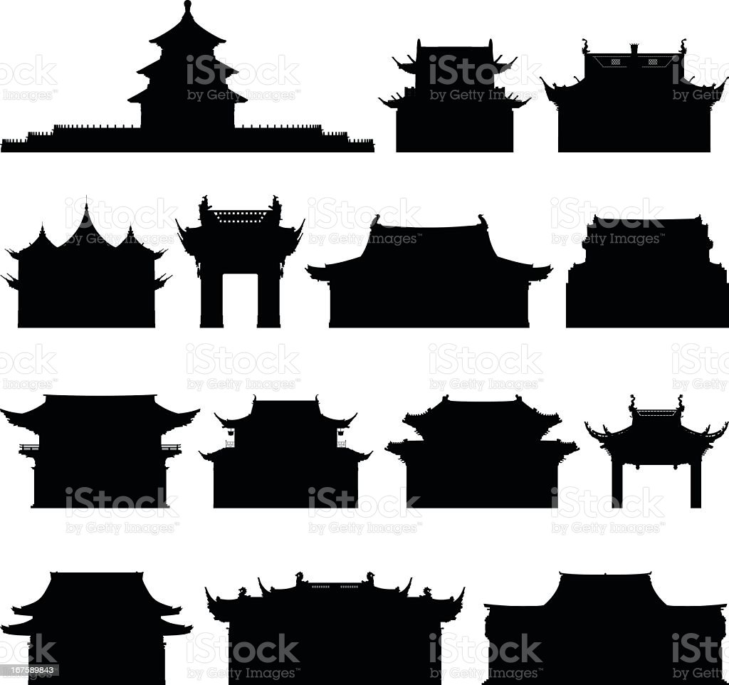 Chinese Buildings vector art illustration