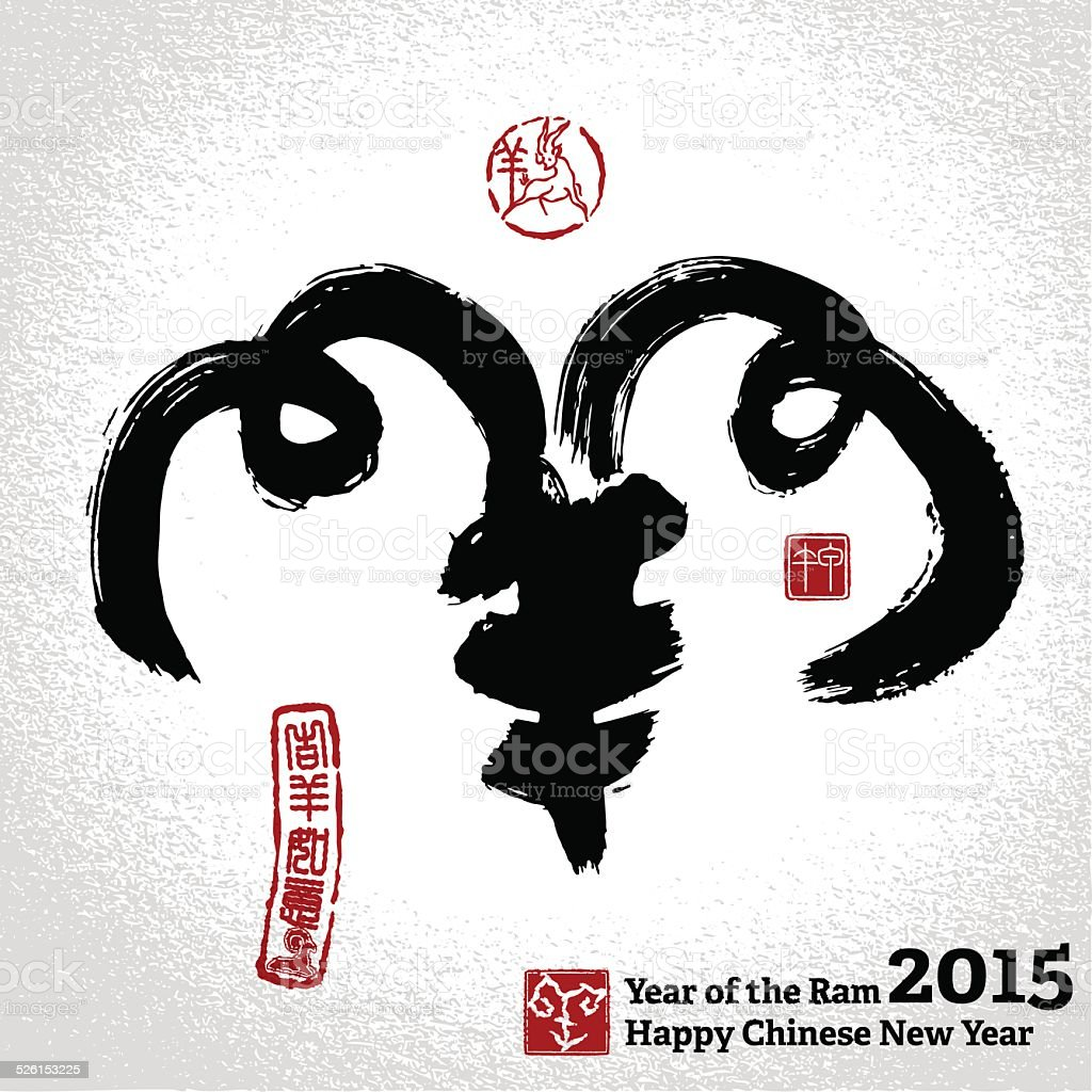 Chinese calligraphy: sheep, Hieroglyphics goat,  Seal and Chines vector art illustration