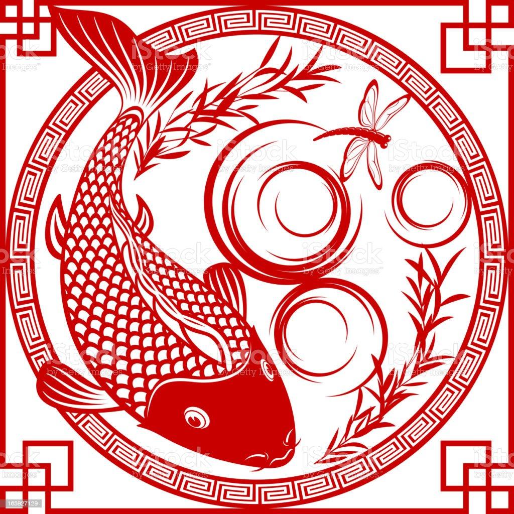 Chinese Carp Fish Paper-cut Art vector art illustration