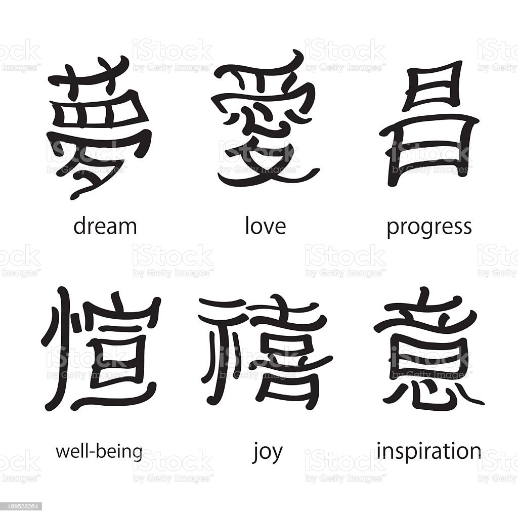 Chinese characters with translation into English vector illustration vector art illustration