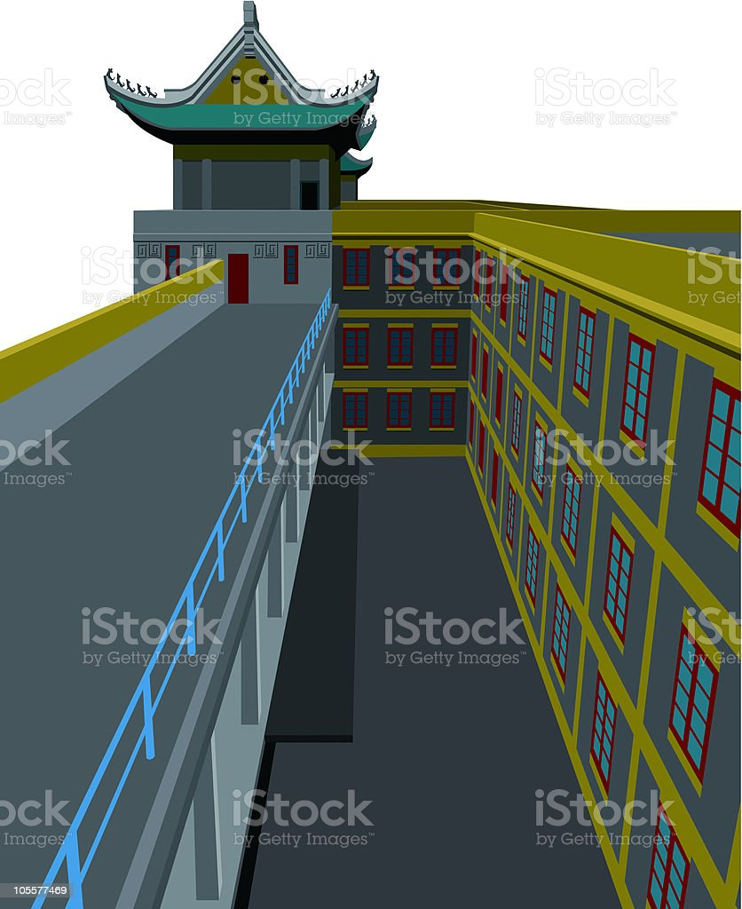 Chinese classical architecture vector art illustration