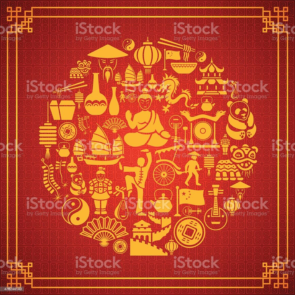 Chinese Collage vector art illustration