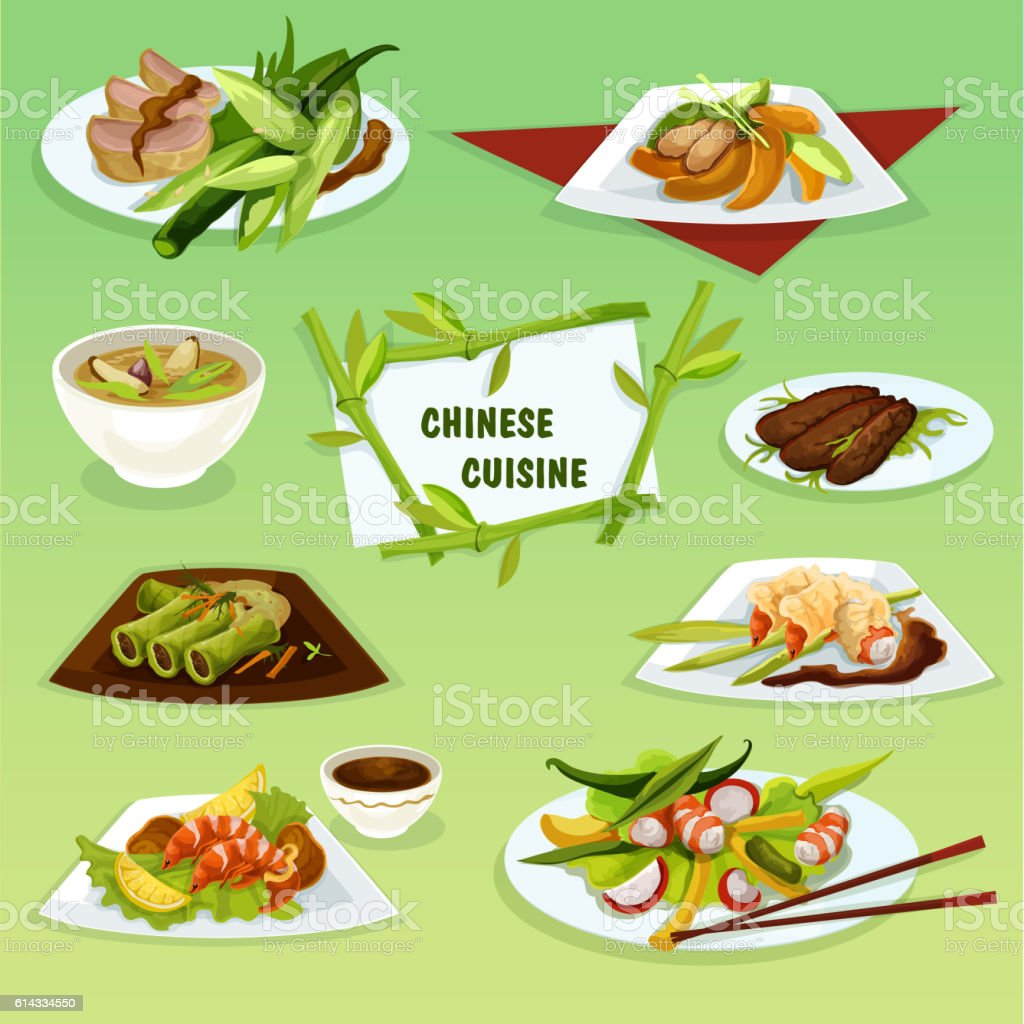 Chinese cuisine icon with seafood and meat dishes vector art illustration