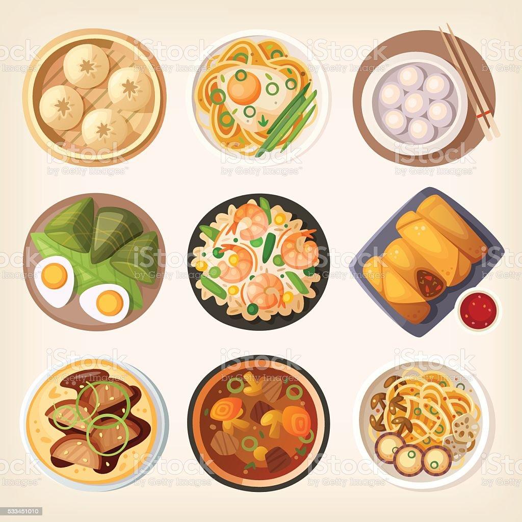 Chinese cuisine vector art illustration