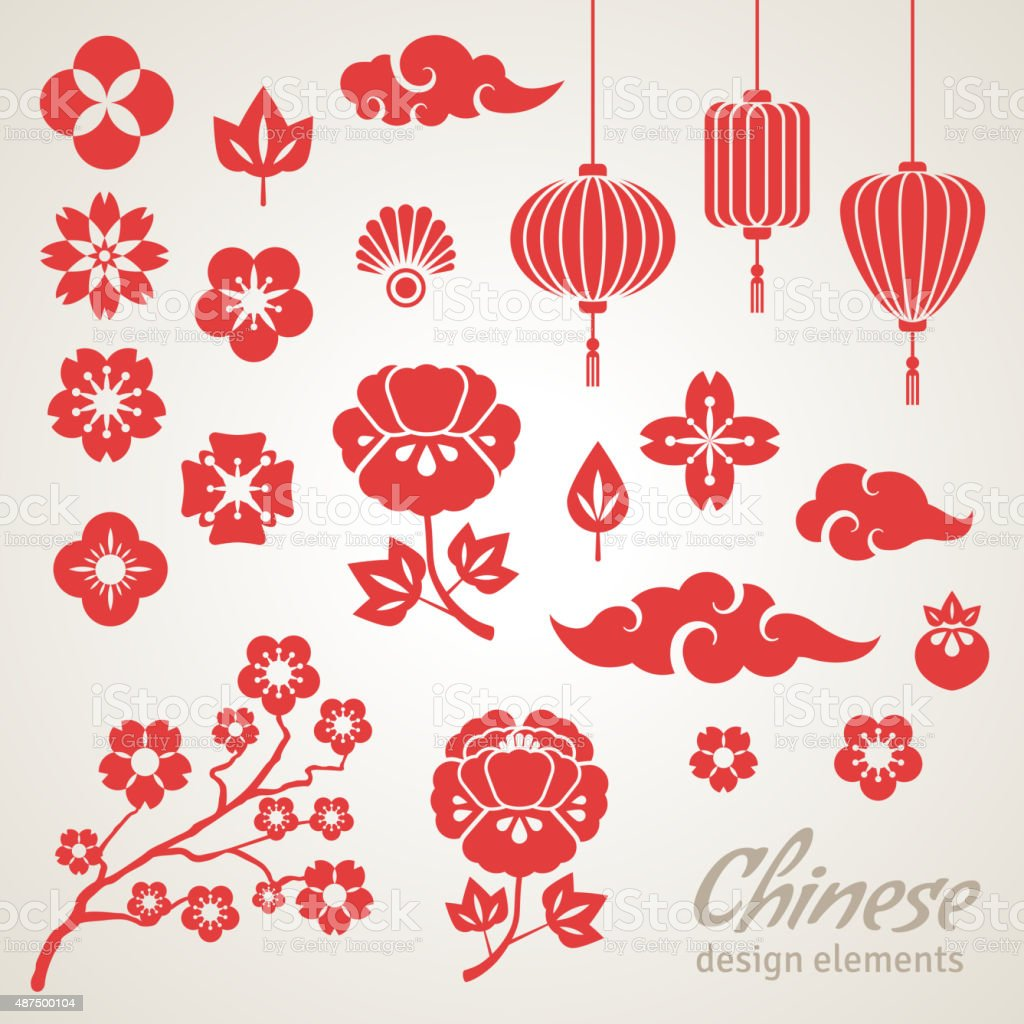 Chinese Decorative Icons, Clouds, Flowers and Chinese Lights vector art illustration