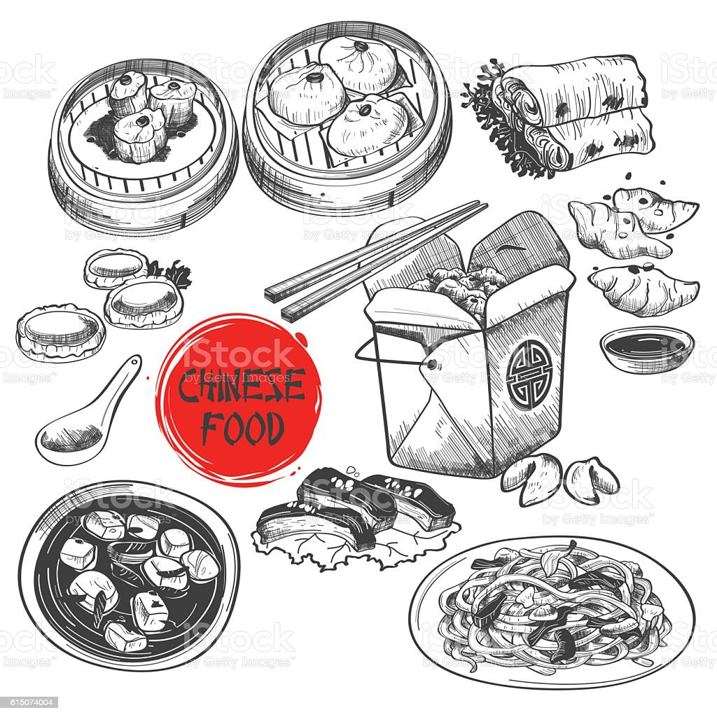 Chinese Dim Sum Dish in Ink Style vector art illustration