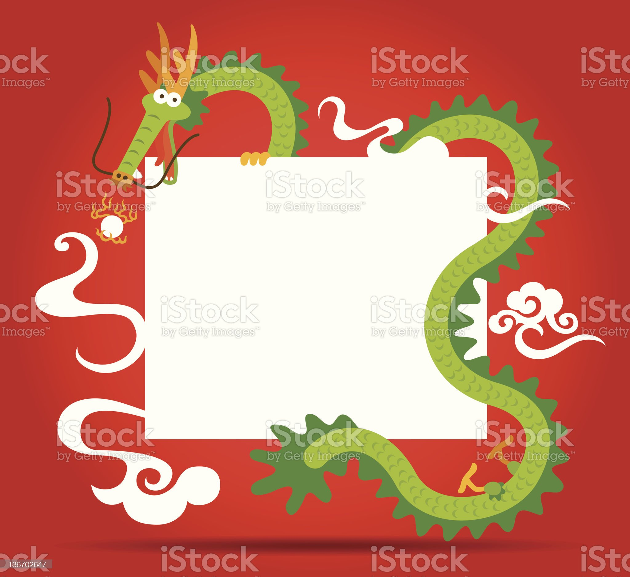 Chinese Dragon and blank card royalty-free stock vector art