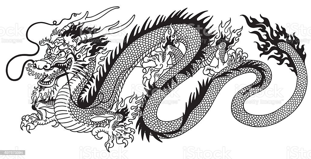 chinese dragon black and white vector art illustration