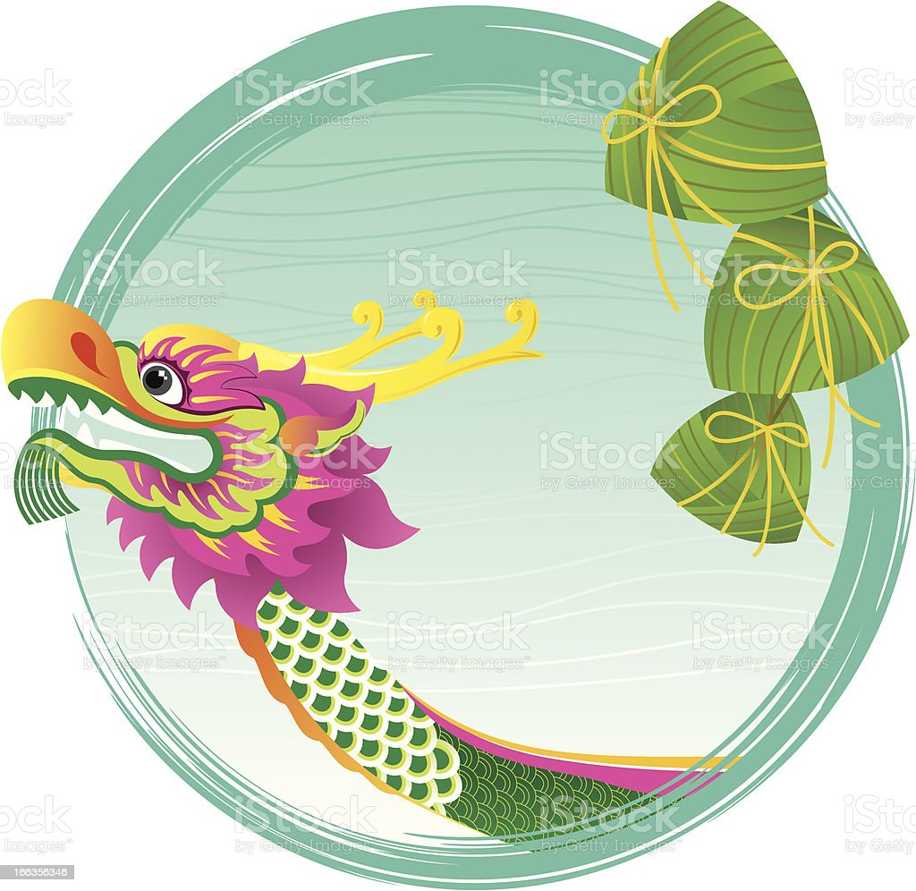 Chinese Dragon boat head and zong zi art design royalty-free stock vector art