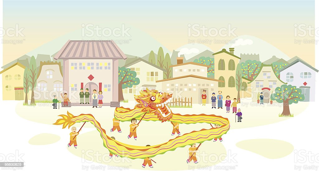Chinese Dragon Dance show vector art illustration