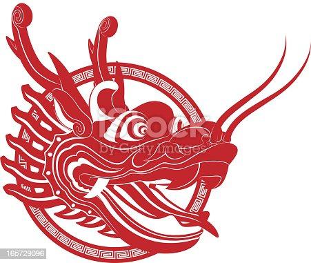 Chinese Dragon Head Papercut Art Symbol stock vector art ...