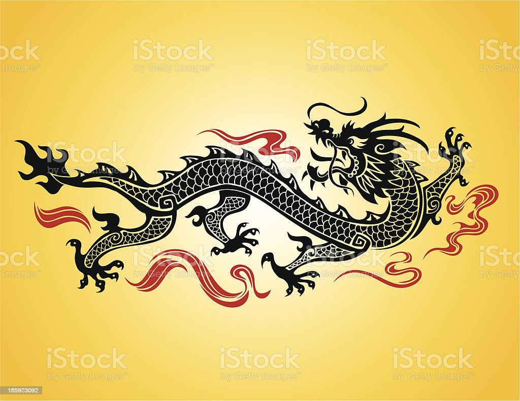 Chinese dragon illustration on a yellow background vector art illustration