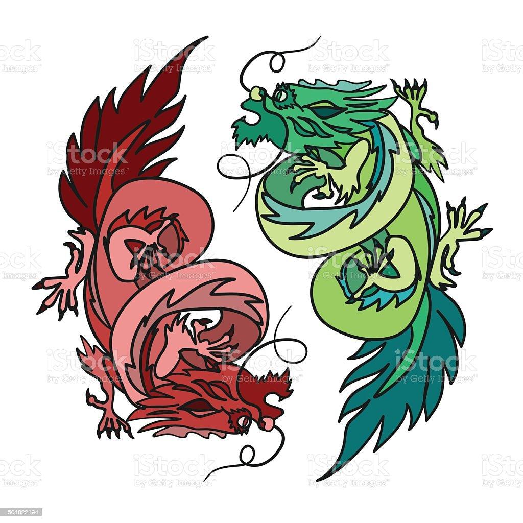 Chinese Dragon Oriental Feng Shui vector art illustration