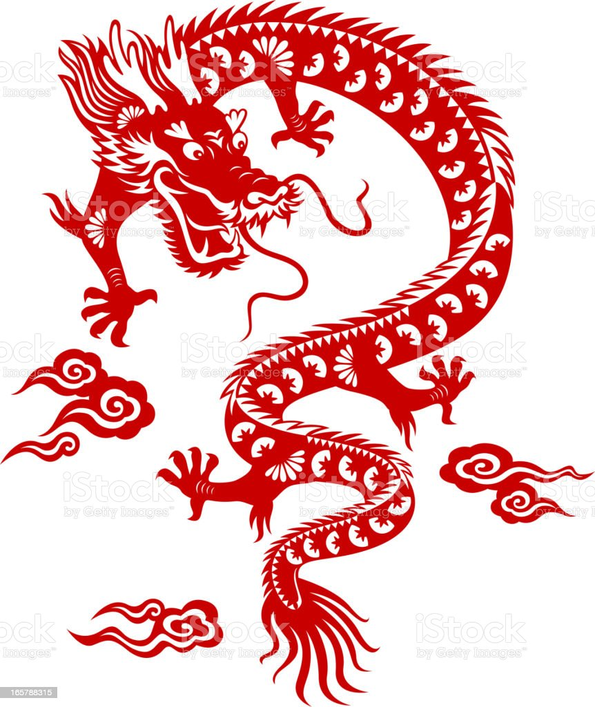 Chinese dragon papercut art stock vector art 165788315 for Chinese paper cutting templates dragon