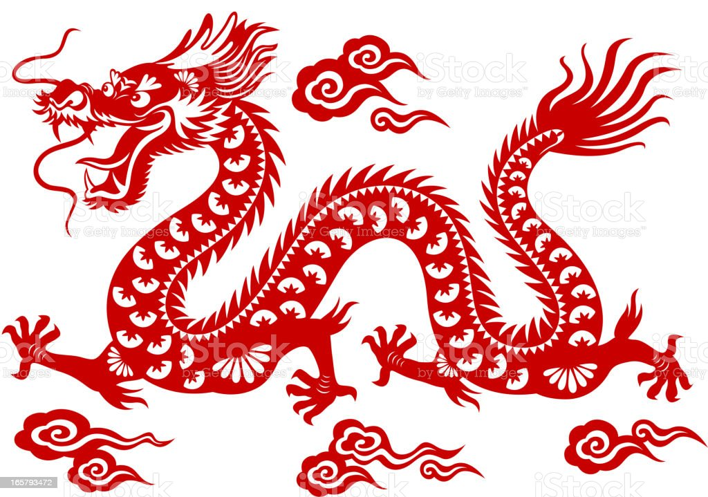Chinese Dragon Paper-cut Art vector art illustration