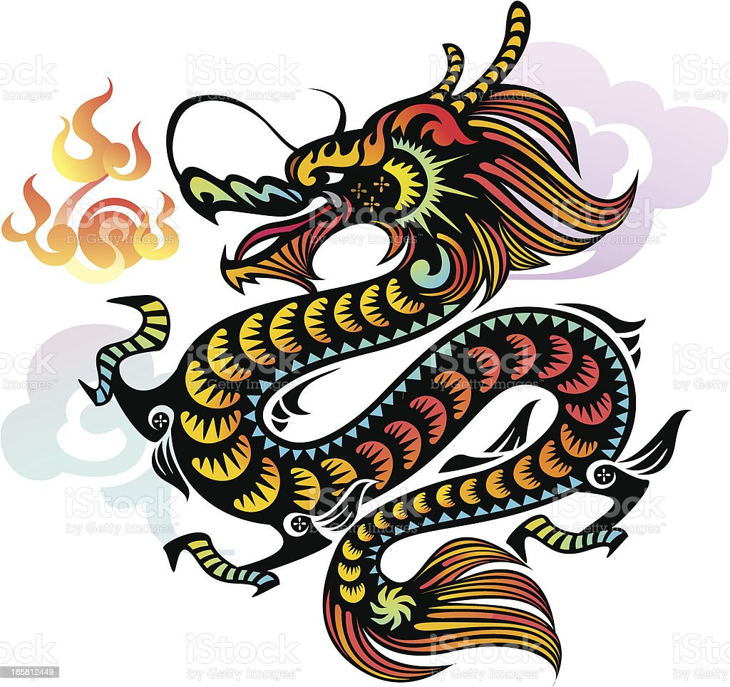 Chinese Dragon (Gold) vector art illustration