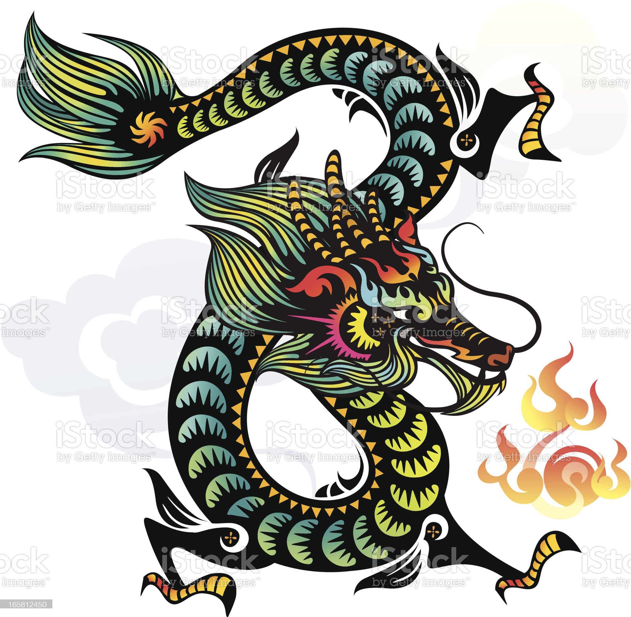 Chinese Dragon (Green) royalty-free stock vector art