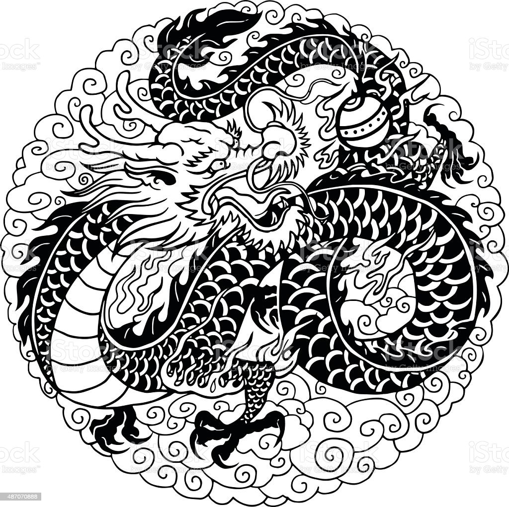 Photo To Line Art Converter Online : Chinese dragon stock vector art istock