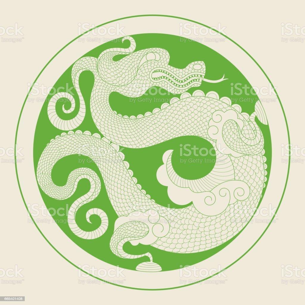 Chinese Dragon (Medallion) vector art illustration