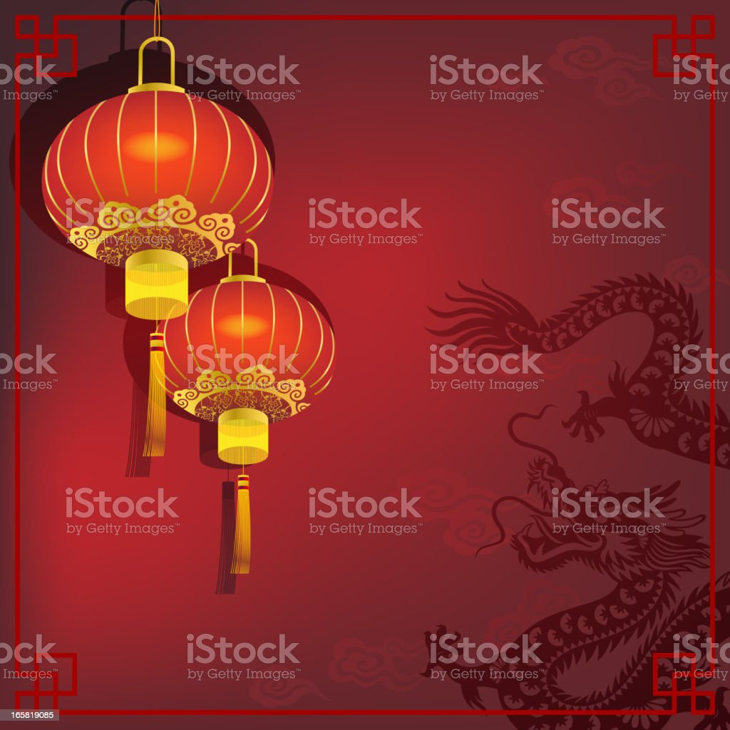 Chinese Dragon with Red Lantern royalty-free stock vector art