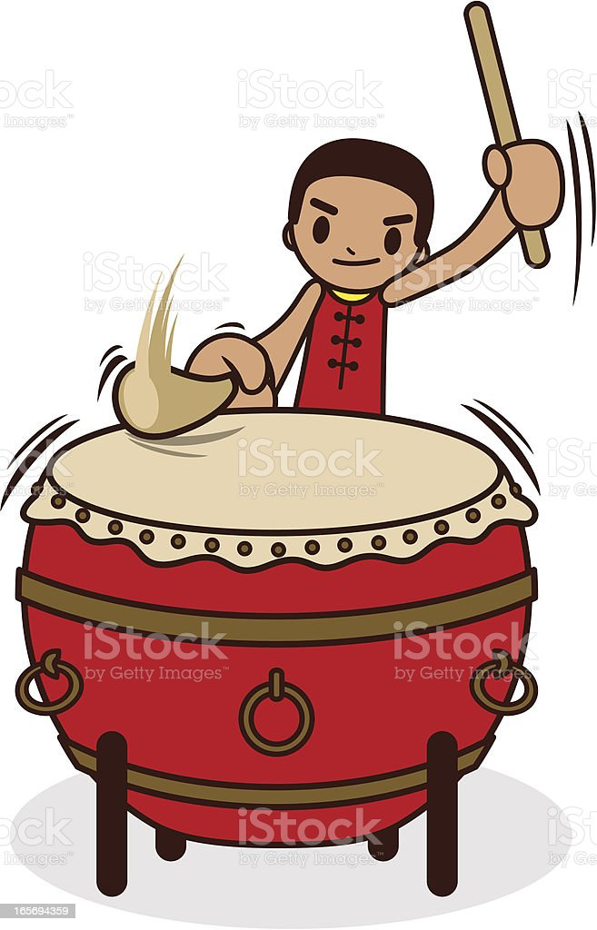 Chinese Drummer Hitting The Large Drum vector art illustration