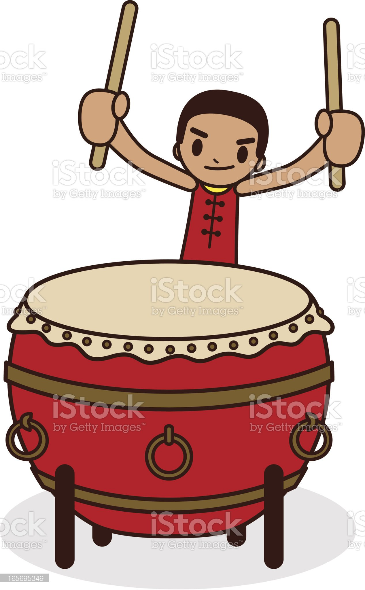 Chinese Drummer With a Large Drum royalty-free stock vector art