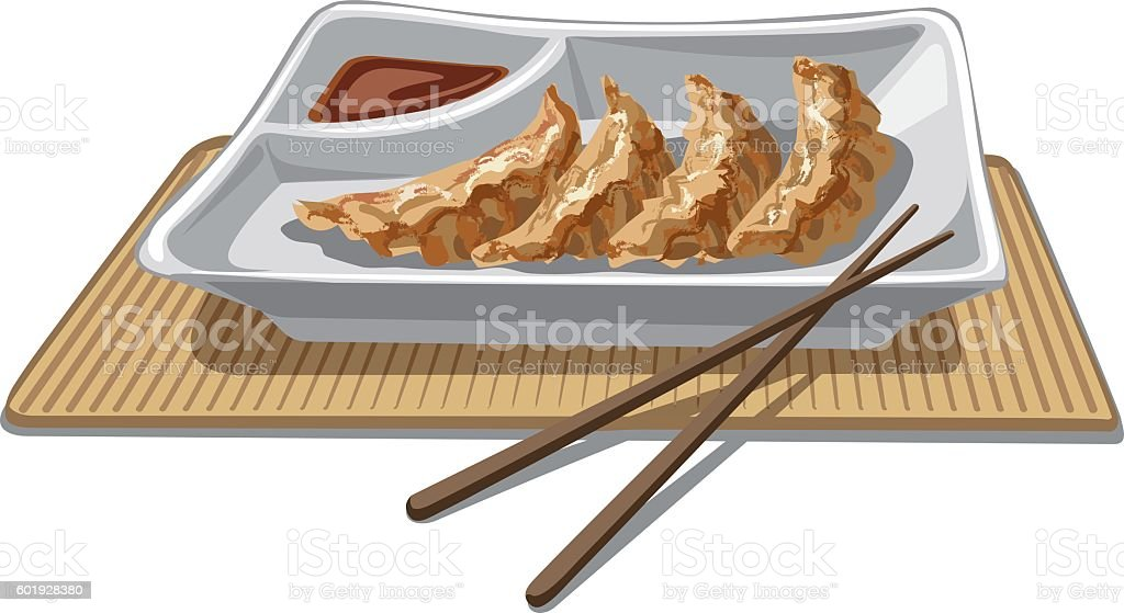 chinese dumplings with sauce vector art illustration