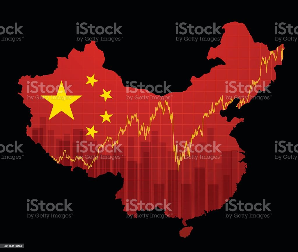 Chinese economy map vector art illustration