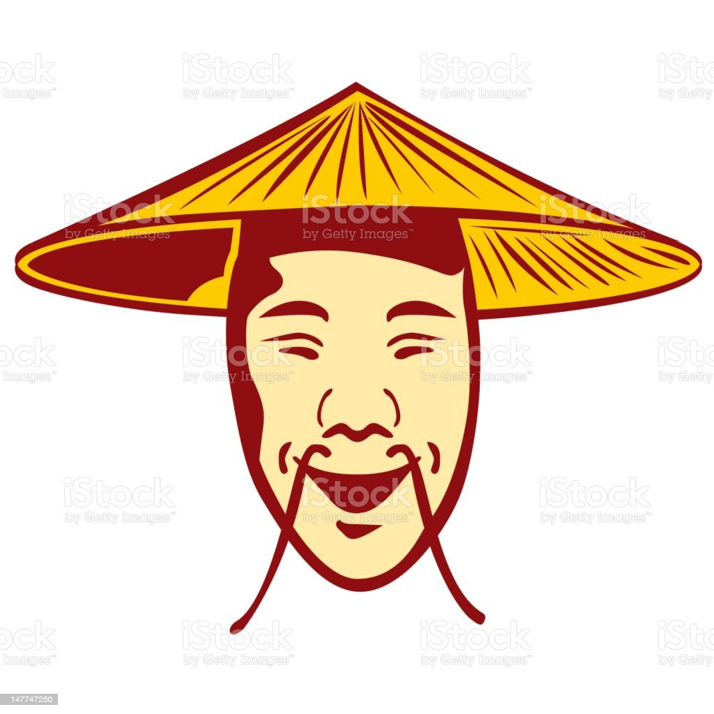 Chinese face with moustache and hat royalty-free stock vector art