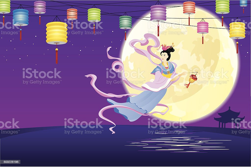 Chinese Fairy flying to the moon illustration royalty-free stock vector art