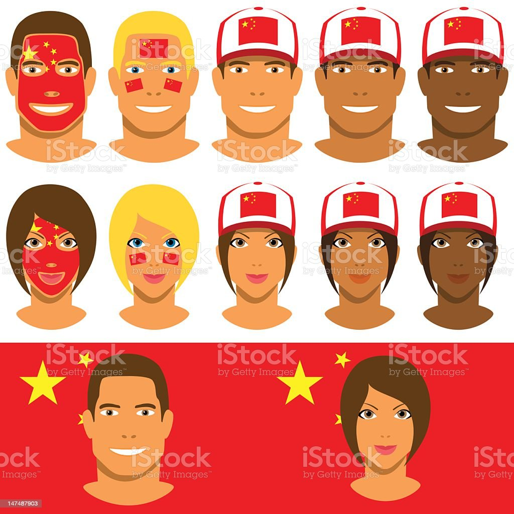 Chinese fans, patriot with flag of China stock photo