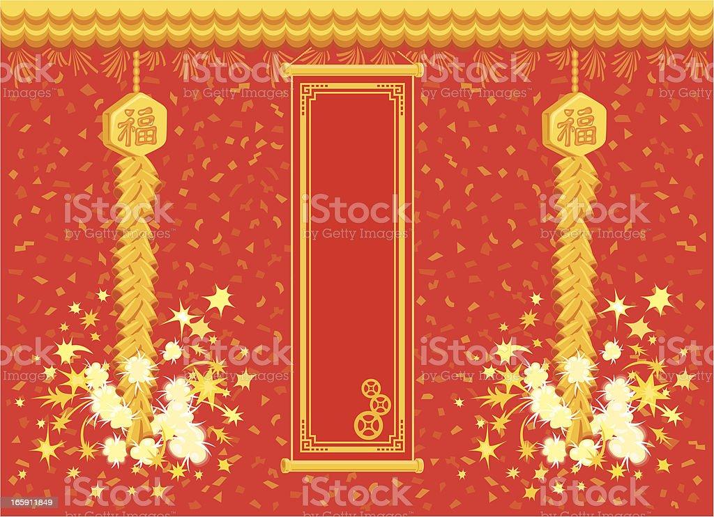 Chinese firecracker with banner vector art illustration