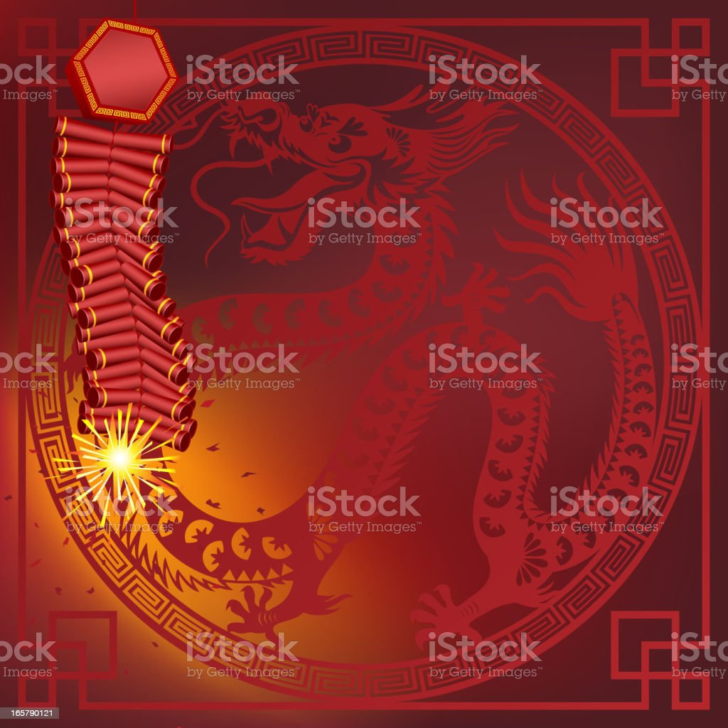 Chinese Firecracker with Dragon Frame Art royalty-free stock vector art