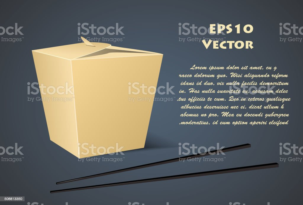 Chinese food box with white background vector art illustration