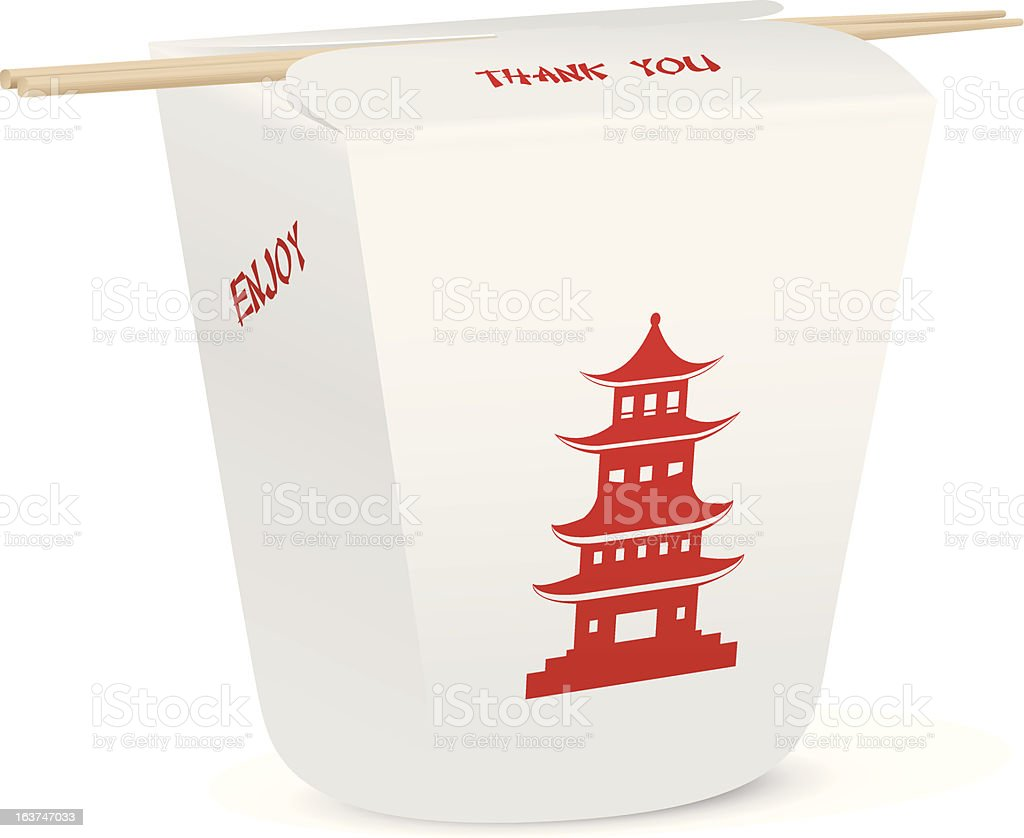 Chinese food closed take out box with chopsticks vector art illustration