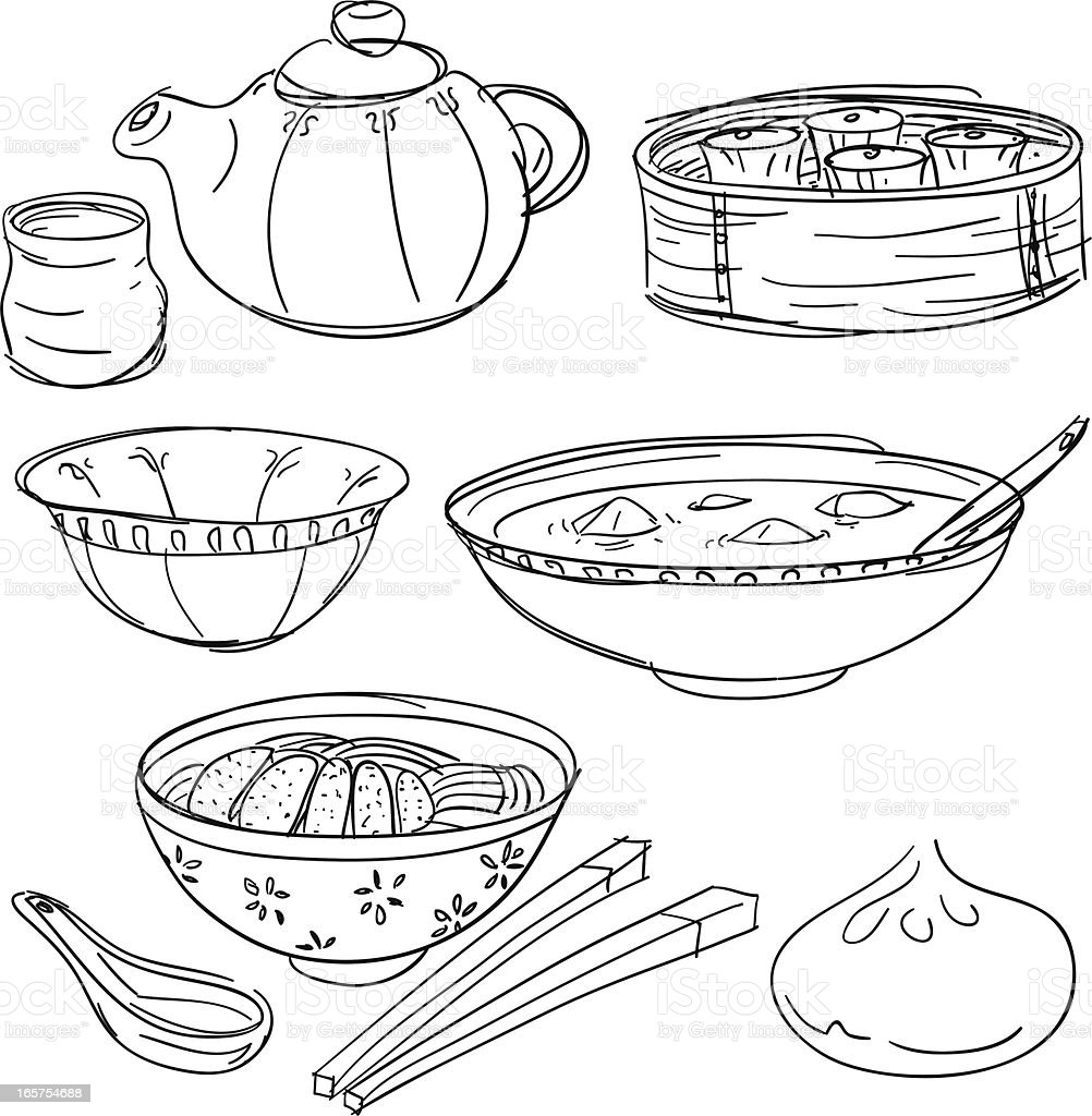 Chinese food collection in sketch style vector art illustration