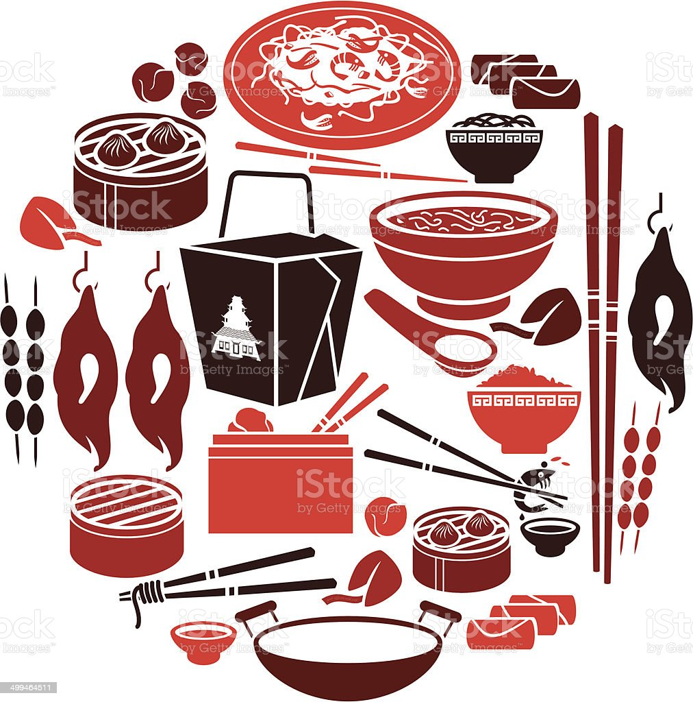 Chinese Food Icon Set vector art illustration