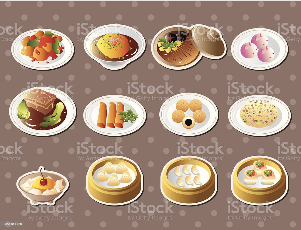 Chinese food stickers vector art illustration