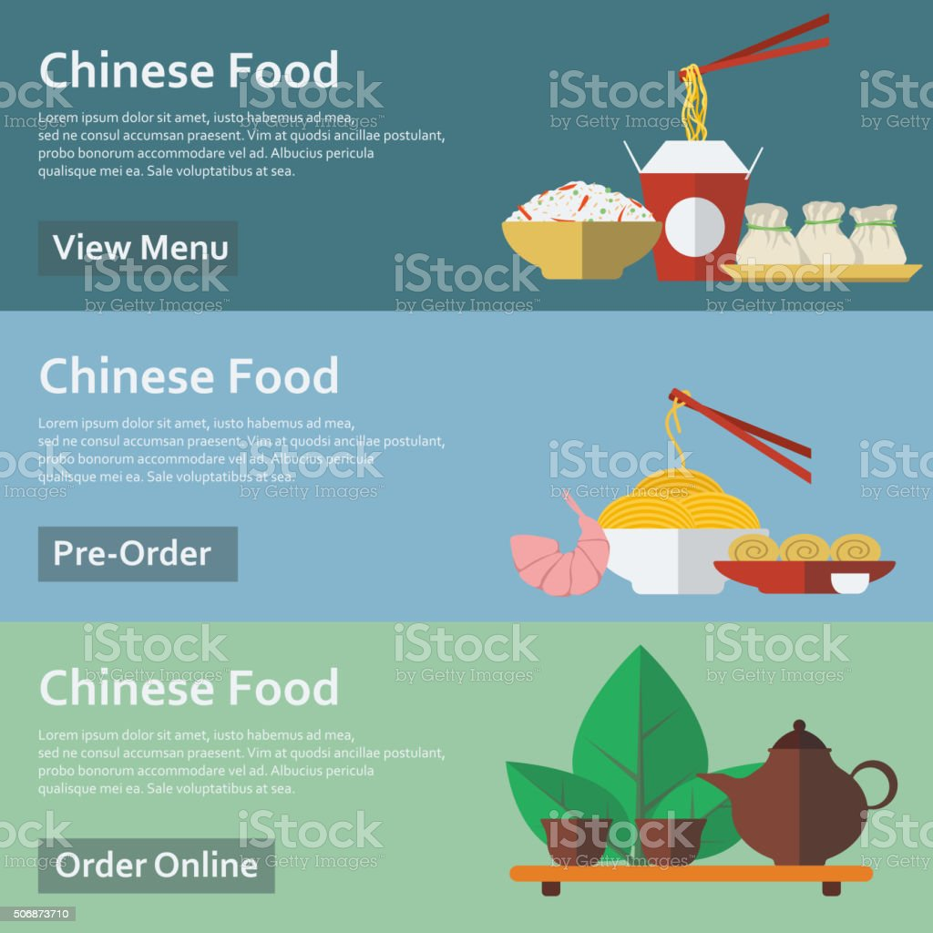 Chinese food. Web banners in flat style. Vector illustration. vector art illustration