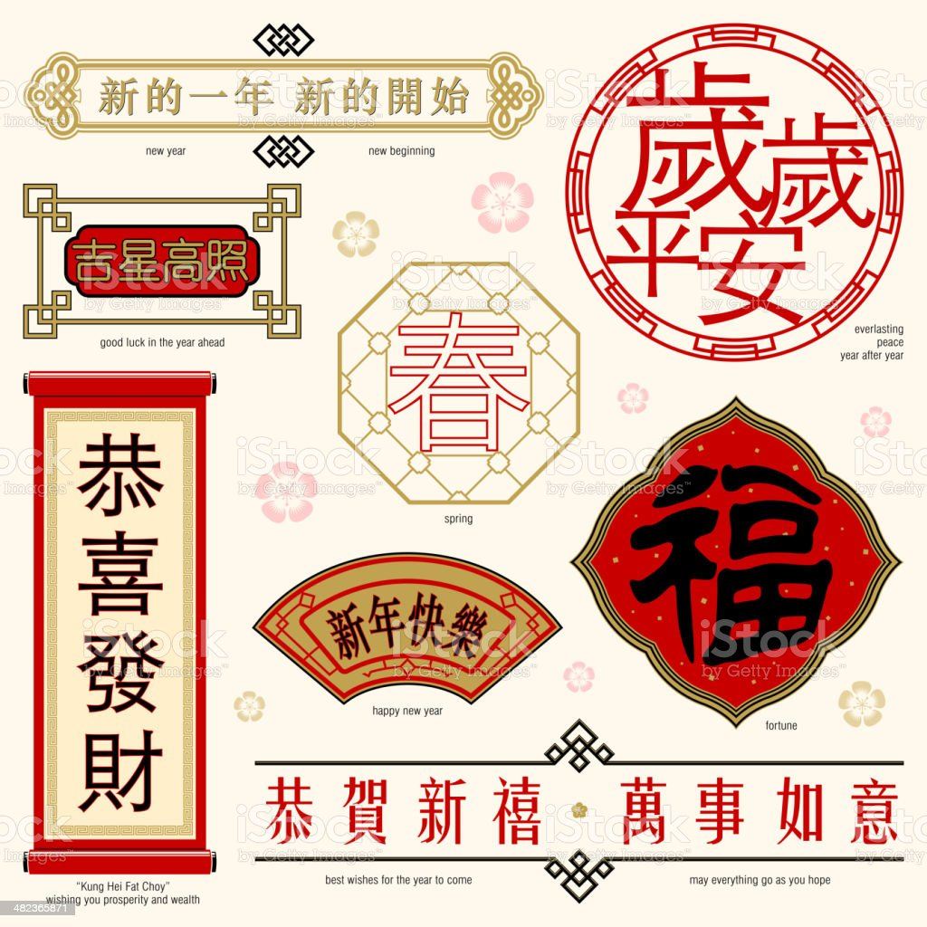 Chinese Frame and Text vector art illustration