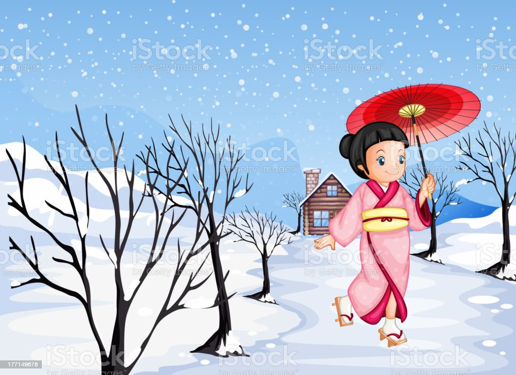 Chinese girl holding umbrella walking outside with snow royalty-free stock vector art
